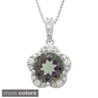 Sterling Silver Topaz and Cubic Zircon Pendant Necklace