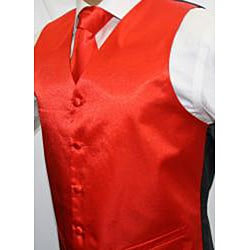 Ferrecci Men's Shiny Red Microfiber 3-piece Vest