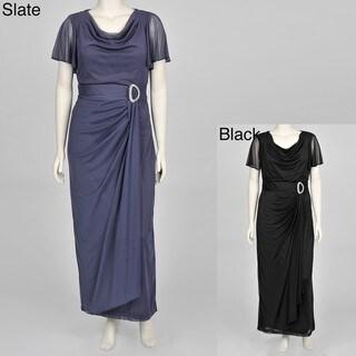 Onyx Nite Women's Plus-size Drape-front Rhinestone Accent Chiffon Gown