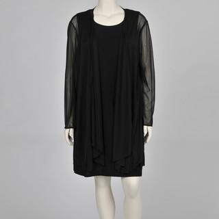 Onyx Nite Women's Plus-size Black 2-piece Chiffon Jacket Jersey Dress Set
