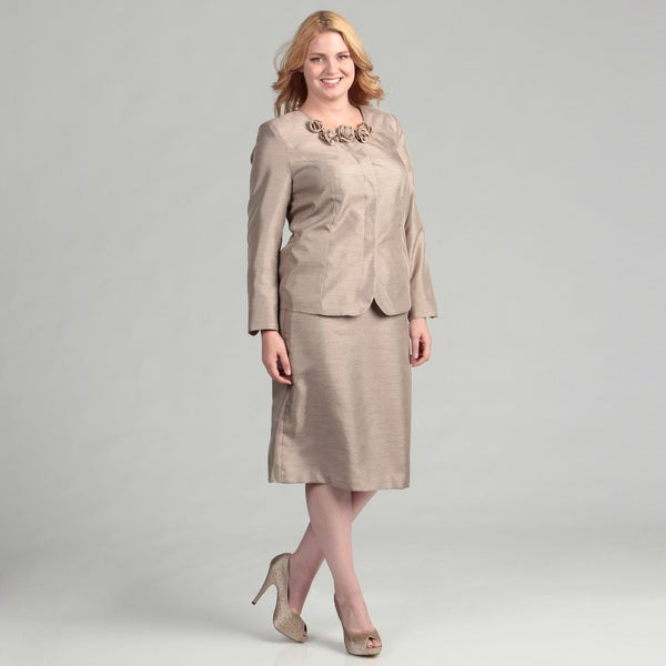 Danillo Women's Plus Size Champagne Skirt Suit