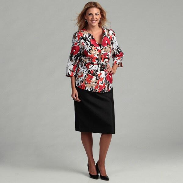 Danillo Women's Plus-size Floral Print Skirt Suit