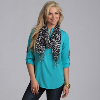 Women's Grey Giraffe Print Shawl Wrap