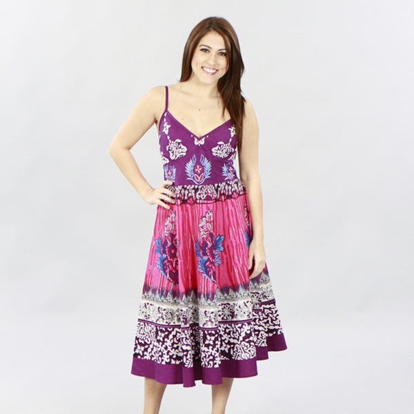 Meetu Magic Women's Purple/ Fuchsia Floral Cotton Dress