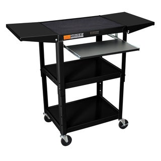 H. Wilson Drop Leaf Adjustable Steel Utility Cart with Keyboard Shelf