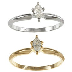 Auriya 10k Gold 1/4ct TDW Marquise Diamond Solitaire Ring (I-J, I2)