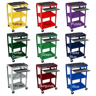H. Wilson Adjustable Steel Utility Cart With Keyboard Shelf
