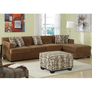 Tan Butter Velvet Sectional Set