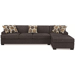 Ash Black Linen Sectional Set