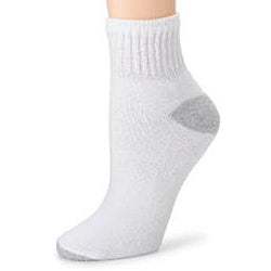 Hanes Women's White Reinforced Toe Cushion Ankle Socks (Pack of 6)