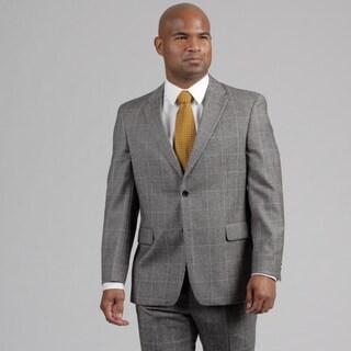 Tommy Hilfiger Men's Grey Plaid Wool Suit