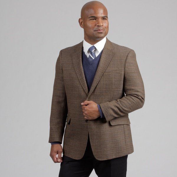 Tommy Hilfiger Men's Brown Plaid Wool Sportcoat