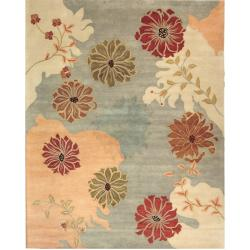 Handmade Chatham Garden Blue New Zealand Wool Rug (9' x 12')