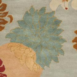 Safavieh Handmade Chatham Garden Blue New Zealand Wool Rug (6' Round)