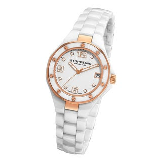 Stuhrling Original Lady Apocalypse Noir Swiss Made White Ceramic Watch