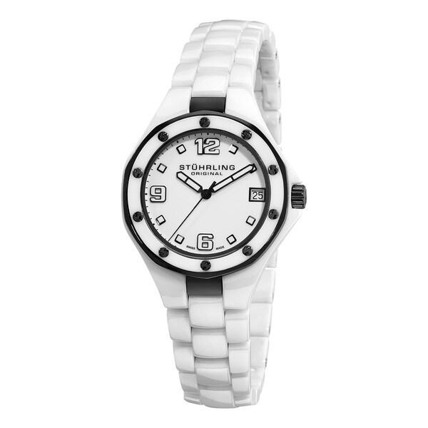 Stuhrling Original Lady Apocalypse Noir Swiss Made White Ceramic Watch with Sapphire Crystal