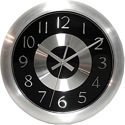 Mercury Black 10-inch Black/ Polished Aluminum Wall Clock