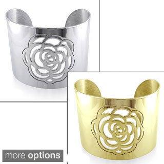 M by Miadora Stainless Steel Rose Design Cuff Bracelet