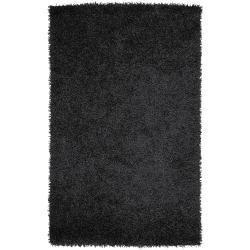 Hand-woven Black Huracan Soft Shag (1'9 x 2'10)