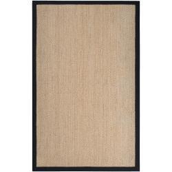 Hand-woven Beige Hunab Natural Fiber Seagrass Cotton Border Rug (5' x 8')