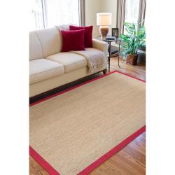 Hand-woven Beige Chowen Natural Fiber Seagrass Cotton Border Rug (5' x 8')