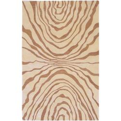 Hand-tufted Contemporary Beige Ourea New Zealand Wool Abstract Rug (3'3 x 5'3)