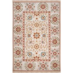 Hand-knotted Ivory Paisley Floral Hemera New Zealand Wool Rug (6' x 9')