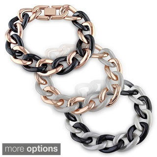 M by Miadora Stainless Steel and Ceramic Link Bracelet