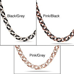 Miadora Stainless Steel and Ceramic Link Necklace