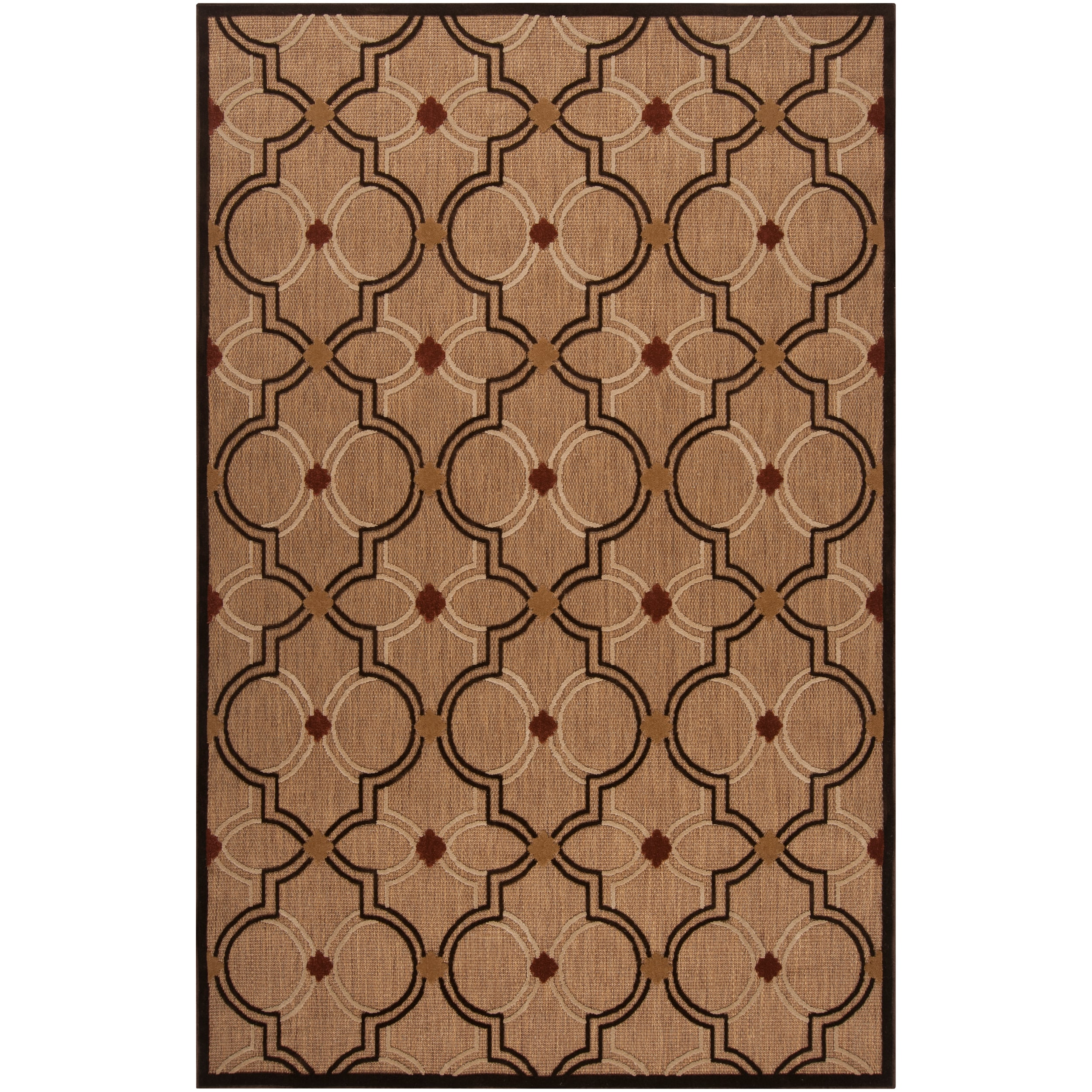 Woven Tan Tigua Indoor/Outdoor Moroccan Lattice Rug (8'8 x 12')