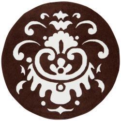 Hand-hooked Brown Yurok Rug (4' Round)