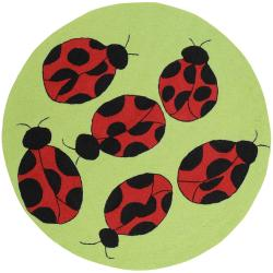 Hand-hooked Green Wiyot Rug (8' Round)