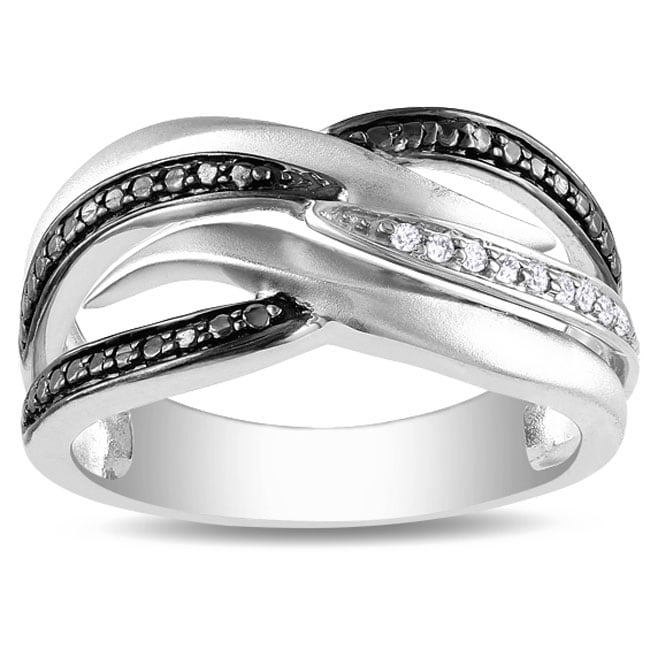 Sterling Silver Diamond Accent Black and White Ring