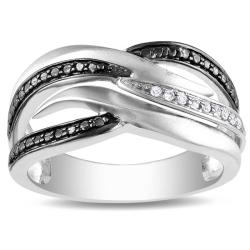 M by Miadora Black-plated Sterling Silver Diamond Accent Pave Pattern Ring