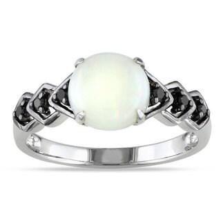 Miadora Sterling Silver Opal and 1/10ct TDW Black Diamond Ring