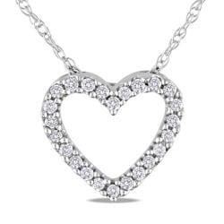 Miadora 10k White Gold 1/10ct TDW Diamond Heart Pendant (G-H, I2-I3)