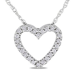 M by Miadora 10k White Gold 1/10ct TDW Diamond Heart Pendant (G-H, I2-I3)