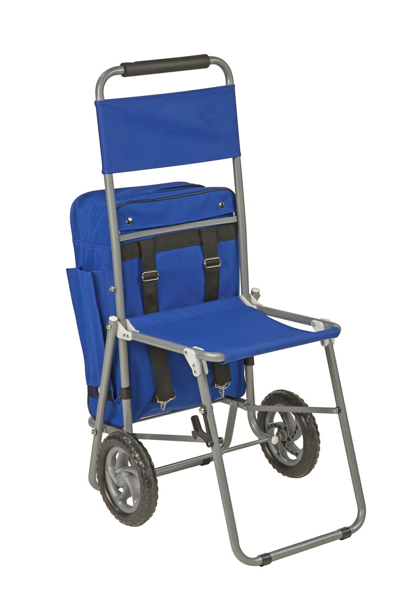 3-in-1 Shopping Cart Backpack Folding Chair with Wheels ...