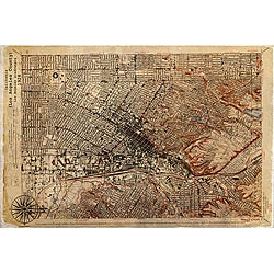 Maxwell Dickson 'Antique Map of Los Angeles 1926' Canvas Wall Art