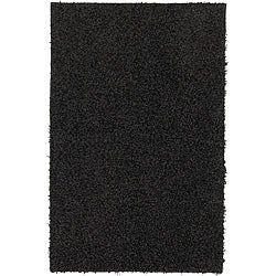 Solid Shag Black Rug (5' x 8')
