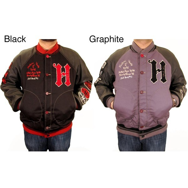 Hudson Outerwear Men's Big and Tall 'All-American' Cotton and Leather Varsity Jacket