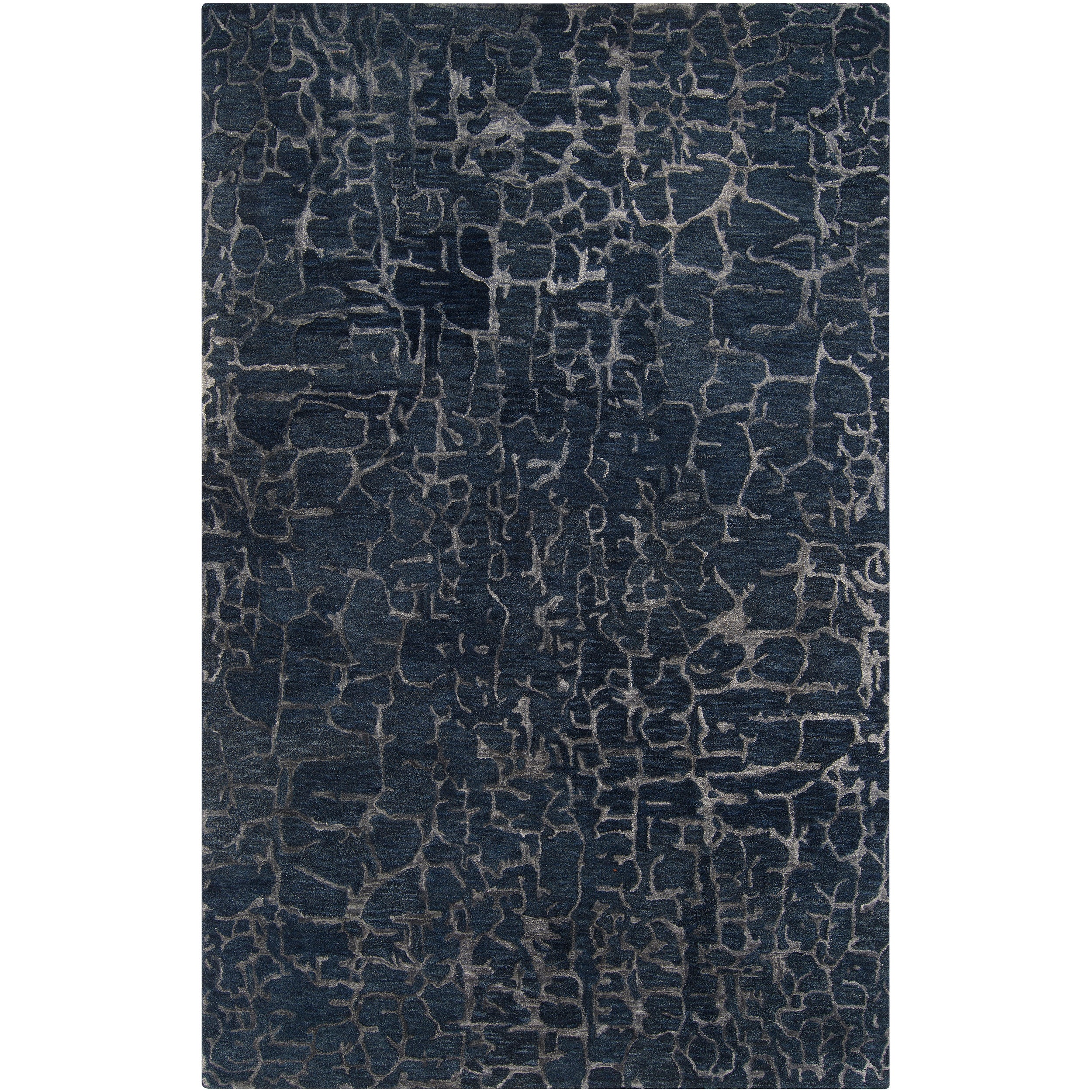 Hand-tufted Contemporary Blue Papillion New Zealand Wool Abstract Rug (8' x 11')