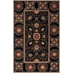 Hand-tufted Black Paisley Bordered Lhasa Wool Rug (5' x 8')