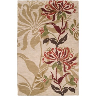 Hand-knotted Beige Berrer Wool Rug (5' x 8')