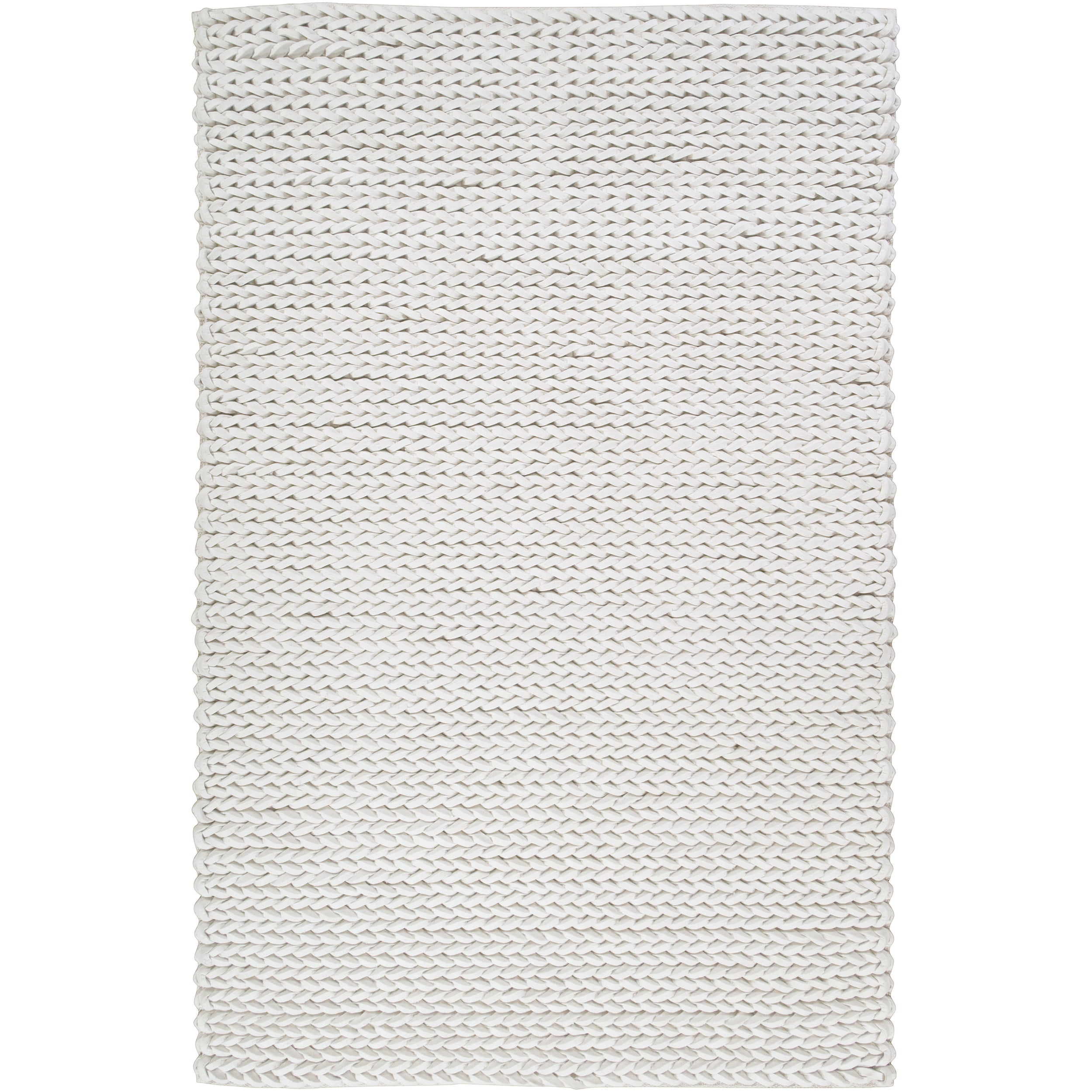 Hand-woven Ivory Badollet Braided Texture New Zealand Wool Rug (8' x 11')