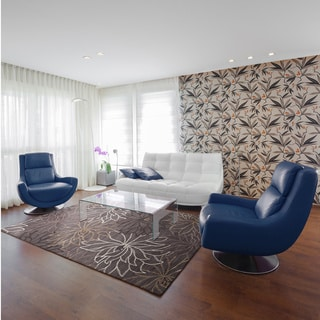 Hand-tufted Grey Contemporary Floral Ameila Area Rug (5' x 7'6)