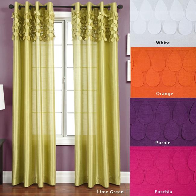 Polka dot printed grommet top 84 inch sheer curtain panel