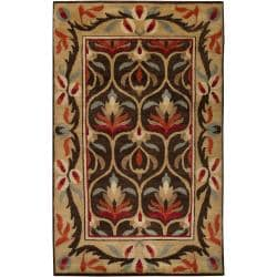 Hand-knotted Multi Colored Floral Argentine New Zealand Wool Rug (8' x 11')