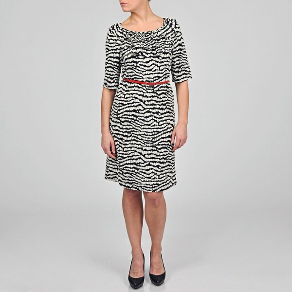 Tiana B Women's Black/ Ivory Abstract Striped Ruffled Belted Dress