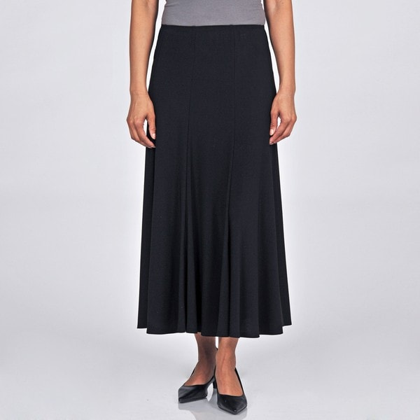 onyx nite s black jersey fit and flare maxi skirt